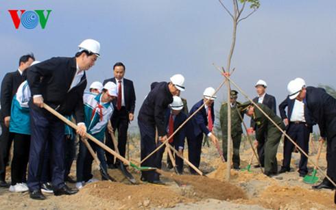 Chủ tịch nước Trần Đại Quang cùng lãnh đạo tỉnh Quảng Ninh trồng cây tại khu vực phục hồi môi trường của Công ty Than Đèo Nai.