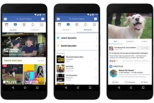 Giao diện dịch vụ Watch trên ứng dụng di động Facebook. Nguồn: Facebook.