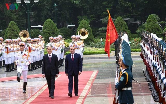 Chủ tịch nước Trần Đại Quang và Tổng thống El Sisi duyệt đội danh dự