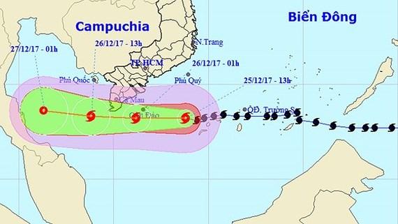 Hướng di chuyển hiện nay của cơn bão Tembin. Ảnh: TTDBKTTVTƯ
