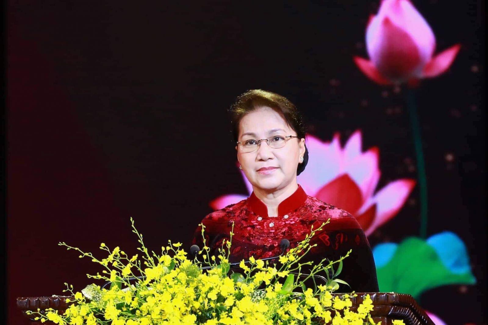 Chủ tịch Quốc hội Nguyễn Thị Kim Ngân phát biểu tại buổi Lễ. Ảnh: VGP/Nhật Bắc