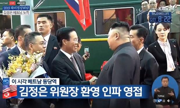 Description: Chủ tịch Triều Tiên Kim Jong-un tới ga Đồng Đăng, bắt đầu chuyến thăm chính thức Việt Nam