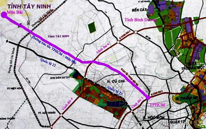 Sơ đồ hướng tuyến cao tốc TP. HCM - Mộc Bài