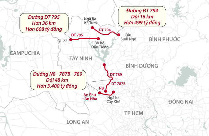 Sơ đồ ba tuyến đường sắp triển khai của Tây Ninh. Đồ họa: Thanh Nhàn