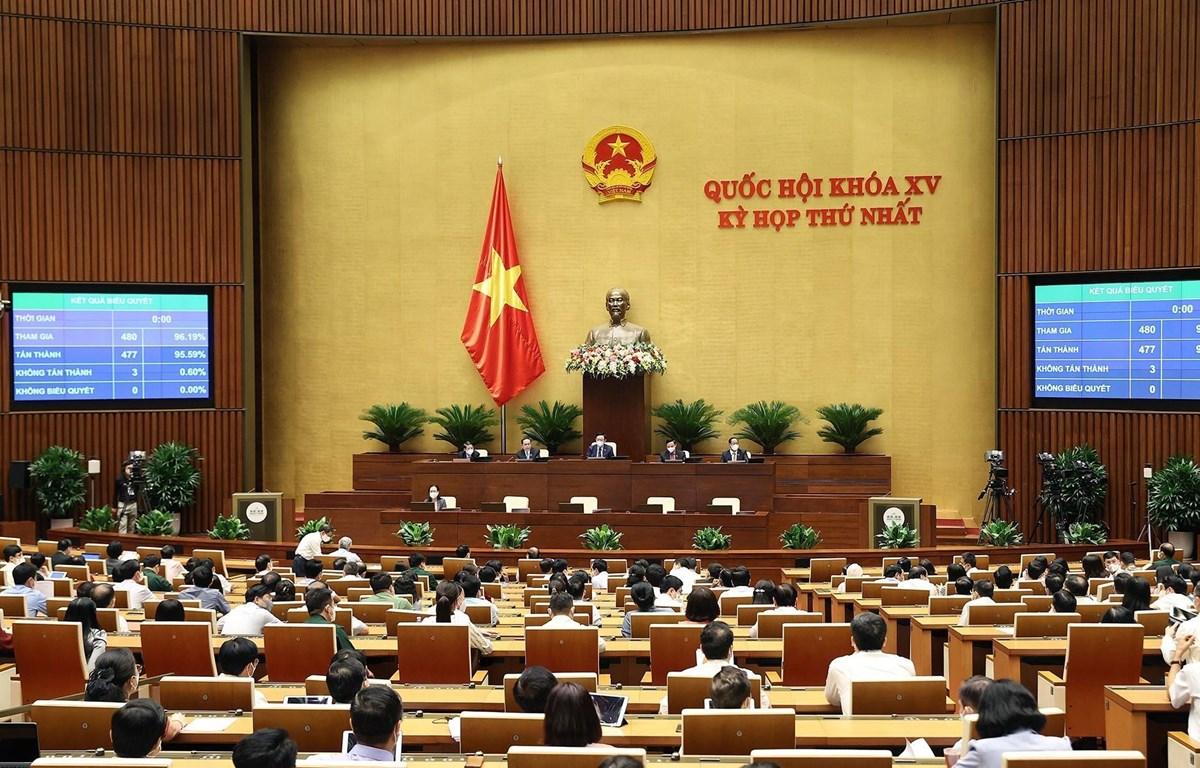 95,59% tổng số đại biểu Quốc hội biểu quyết thông qua việc điều chỉnh chương trình kỳ họp thứ nhất Quốc hội khoá XV. (Ảnh: Dương GiangT/TXVN)