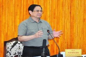 Thủ tướng Phạm Minh Chính làm việc với lãnh đạo tỉnh về công tác phòng, chống dịch Covid-19