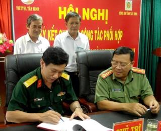 Công an Tây Ninh ký kết quy chế phối hợp với Tập đoàn viễn thông quân đội chi nhánh Tây Ninh