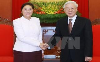 Tổng Bí thư Nguyễn Phú Trọng tiếp Chủ tịch Quốc hội Lào Pany Yathotou
