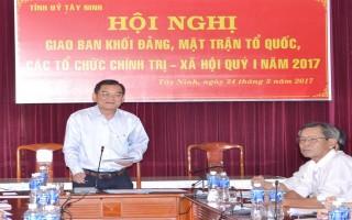 Ban Thường vụ Tỉnh ủy Tây Ninh: Giao ban công tác quý I năm 2017