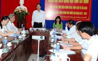 Đoàn ĐBQH đơn vị Tây Ninh: Giám sát thực hiện chính sách, pháp luật về cải cách hành chính giai đoạn 2011-2016