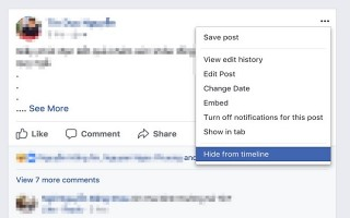 Facebook ẩn nút xóa status trên bản web