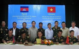 Ban CHQS huyện Tân Biên và các Chi khu quân sự giáp biên (thuộc Campuchia) tổng kết hoạt động hợp tác