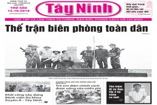 Điểm báo in Tây Ninh ngày 12.10.2018