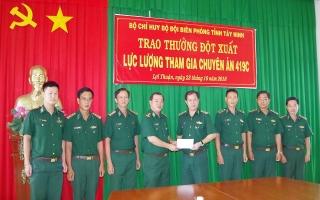 Bộ đội Biên phòng Tây Ninh thưởng nóng cho lực lượng tham gia chuyên án 419C