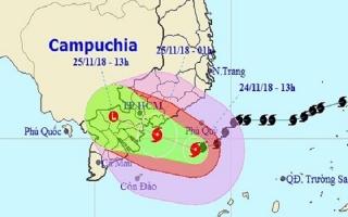 Bão giật cấp 12 đang tiến vào Nam Bình Thuận - Bến Tre