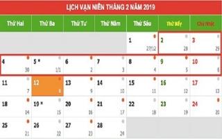 Lịch nghỉ Tết Nguyên đán Kỷ Hợi 2019 chính thức