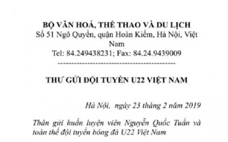 Bộ trưởng Nguyễn Ngọc Thiện gửi thư chúc mừng U22 Việt Nam