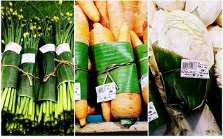 Thích thú khi mua rau, củ bọc bằng lá chuối ở Co.opmart Tây Ninh