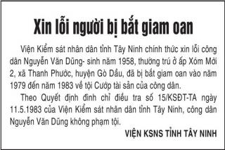 Viện KSND tỉnh Tây Ninh chính thức xin lỗi công dân Nguyễn Văn Dũng