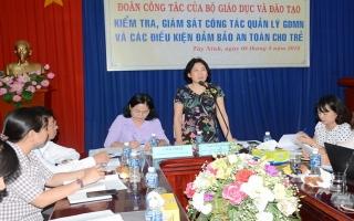 Bộ GD&ĐT kiểm tra công tác quản lý giáo dục mầm non tại Tây Ninh