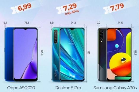 Ba smartphone giá 7 triệu đồng đọ cấu hình