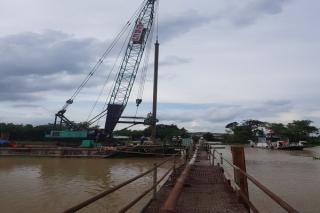 Đã thi công hoàn thành phần cọc khoan nhồi cầu Bến Cây Ổi