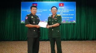 Ban CHQS thành phố Tây Ninh và Chi khu quân sự thành phố Prey Veng tổng kết hoạt động hợp tác năm 2019