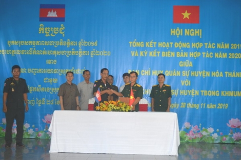 Hoà Thành ký kết hợp tác với Chi khu Quân sự Tboung Khmum