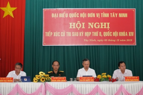 Đoàn ĐBQH đơn vị tỉnh Tây Ninh tiếp xúc cử tri sau kỳ họp thứ 8, Quốc hội khoá XIV