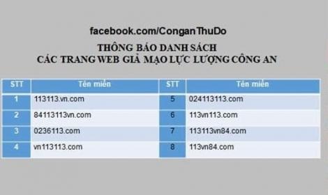 Cảnh báo trang web giả mạo cổng thông tin điện tử của lực lượng Công an