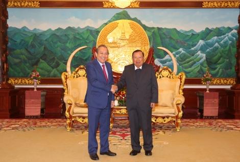 Phó Thủ tướng Thường trực hội kiến Tổng Bí thư, Chủ tịch nước và Thủ tướng Lào