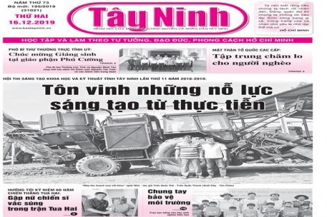 Điểm báo in Tây Ninh ngày 16.12.2019