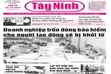 Điểm báo in Tây Ninh ngày 18.12.2019
