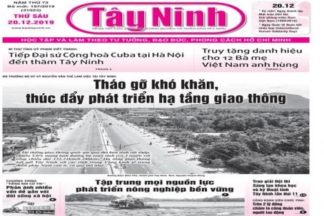 Điểm báo in Tây Ninh ngày 20.12.2019