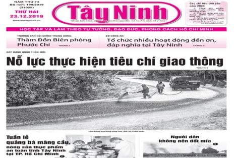 Điểm báo in Tây Ninh ngày 23.12.2019