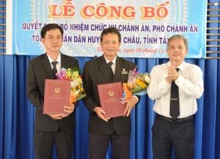 Bổ nhiệm Chánh án, Phó Chánh án TAND huyện Tân Châu