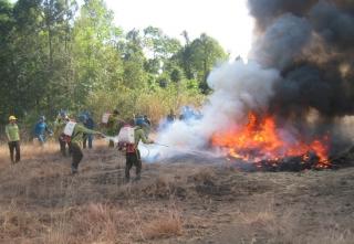 Tân Biên: Diễn tập phương án PCCC rừng mùa khô năm 2019-2020