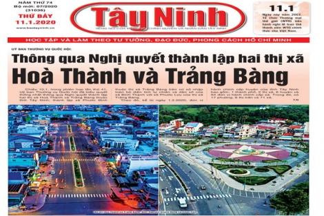 Điểm báo in Tây Ninh ngày 11.01.2020