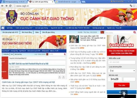 Cảnh báo các trang giả mạo Cục CSGT trên mạng xã hội Facebook, Youtube