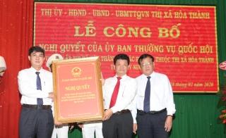 Công bố thành lập thị xã Hoà Thành