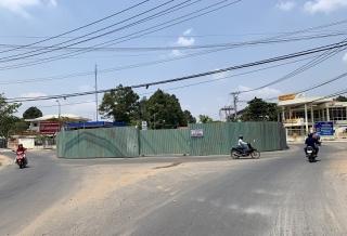 Châu Thành thi công mở rộng vòng xuyến trung tâm huyện