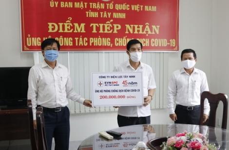 Điện lực Tây Ninh ủng hộ 200 triệu đồng phòng, chống dịch Covid-19