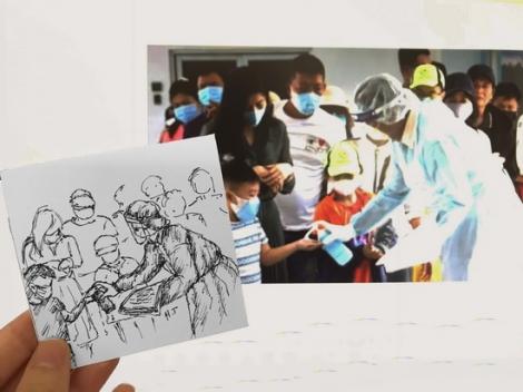 Họa sĩ trẻ Tây Ninh với bộ ảnh ký họa cổ vũ tinh thần chống dịch Covid-19