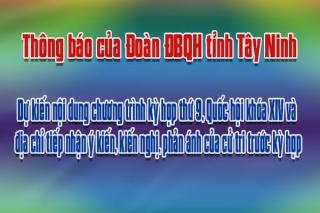 Thông báo của Đoàn ĐBQH tỉnh Tây Ninh