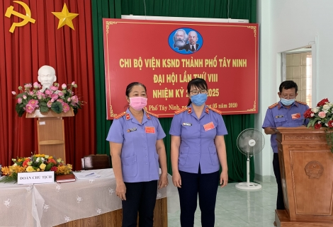 Viện KSND thành phố Tây Ninh tiến hành Đại hội chi bộ nhiệm kỳ 2020-2025