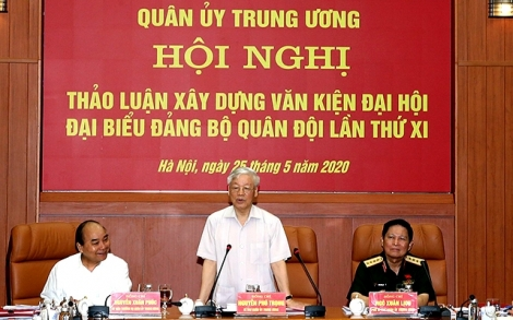 Tổng Bí thư, Chủ tịch nước, Bí thư Quân ủy Trung ương Nguyễn Phú Trọng chủ trì Hội nghị Quân ủy Trung ương