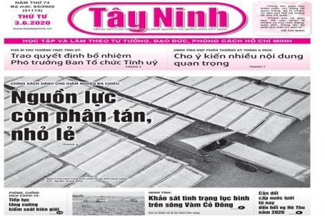 Điểm báo in Tây Ninh ngày 03.6.2020