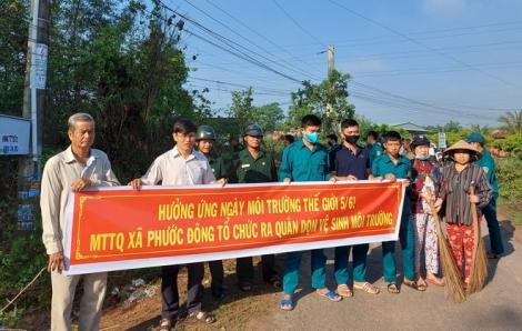 Xã Phước Đông, huyện Gò Dầu ra quân hưởng ứng Ngày môi trường thế giới 5.6