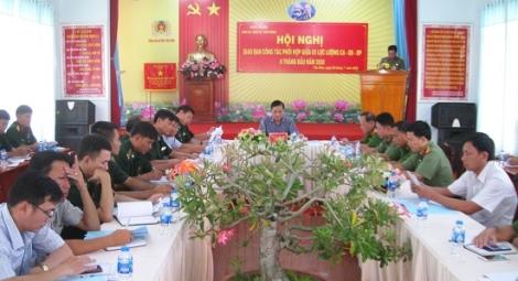 Tân Biên: Hội nghị sơ kết công tác phối hợp 6 tháng đầu năm giữa các lực lượng công an, quân sự và biên phòng