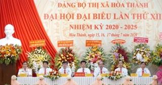 Chính thức khai mạc Đại hội Đảng bộ thị xã Hoà Thành lần thứ XII, nhiệm kỳ 2020-2025